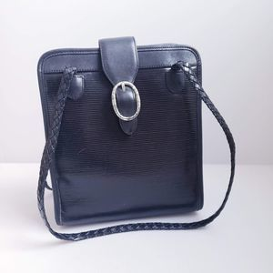 Brighton Black Leather Braided Strap Bag